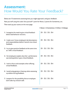 Assessment: How Would You Rate Your Feedback?