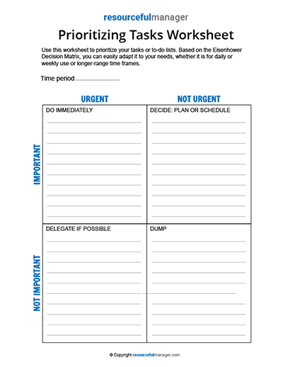 prioritizing tasks template prioritizing tasks worksheet resourcefulmanager